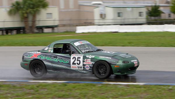 John Adamczyk at Sebring in the rain