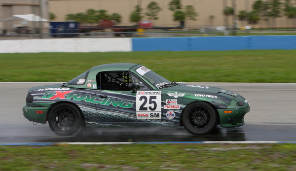 John Adamczyk at Sebring in the rain